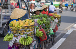 Typical street fruit vendor with palm-leaf conical hat moving at the street in road. Royalty Free Stock Photos