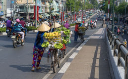 Typical street fruit vendor with palm-leaf conical hat moving at the street in road. Royalty Free Stock Image