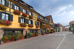 Typical Street with half-timbered houses, Alsace Stock Photos
