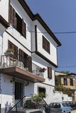 Typical street and houses at old town of city of Kavala, Greece. KAVALA, GREECE - JUNE 22, 2019:  Typical street and houses at old town of city of Kavala, East royalty free stock photography