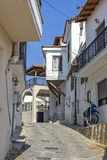 Typical street and houses at old town of city of Kavala, Greece. KAVALA, GREECE - JUNE 22, 2019:  Typical street and houses at old town of city of Kavala, East stock photography