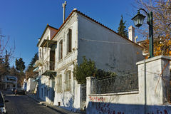 Typical street and houses in old town of Xanthi, Greece Royalty Free Stock Image