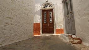 Typical street on Hydra Island in Greece. Walking. stock footage