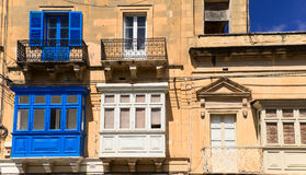 Typical street in Malta with balconys Royalty Free Stock Photography
