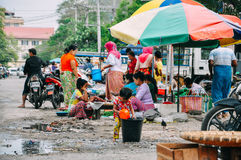A typical street market in Mandalay. Stock Image