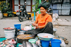 A typical street market in Mandalay. Stock Photo