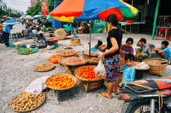 A typical street market in Mandalay. Royalty Free Stock Images