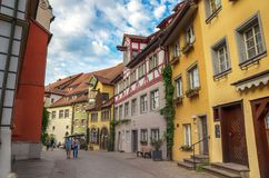 Typical street in Meersburg, Constance lake Royalty Free Stock Photo
