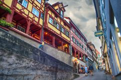Typical street in Meersburg, Constance lake Royalty Free Stock Photos
