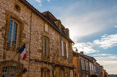 The village of Monpazier, in the Dordogne-Périgord region, France. Medieval village with arcades and typical square stock image