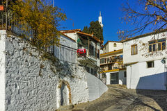 Typical street and mosque in old town of Xanthi, East Macedonia and Thrace Royalty Free Stock Photos