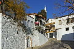 Typical street and mosque in old town of Xanthi, East Macedonia and Thrace Royalty Free Stock Photo
