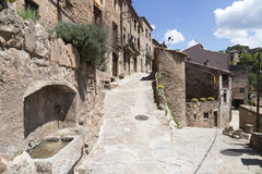 Typical street in Mura, Catalonia, Spain. Stock Images