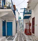 Typical street of Mykonos Royalty Free Stock Images