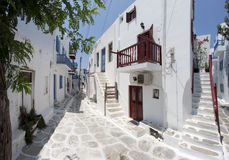 Typical street in Mykonos Stock Photo