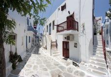 Typical street in Mykonos. Street in Chora, Mykonos island, Cyclades, Greece Stock Photo