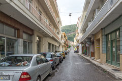 Typical street in Nafpaktos town, Western Greece. PATRAS, GREECE - MAY 28, 2015: Typical street in Nafpaktos town, Western Greece royalty free stock photos