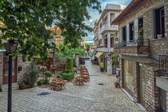 Typical street in nafpaktos town, Western Greece. PATRAS, GREECE - MAY 28, 2015: Typical street in nafpaktos town, Western Greece royalty free stock photo