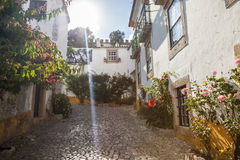 Typical street of Obidos Stock Images