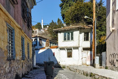 Typical street and old house in old town of Xanthi, East Macedonia and Thrace Royalty Free Stock Photography