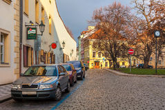 Typical street of old Prague. Royalty Free Stock Photo