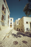 Typical street in old town of Ibiza, in Balearic Islands, Spain Stock Photos