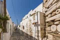 Typical street in old town of Parakia, Paros island, Greece Stock Images