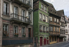 Typical street of the old town of Strasbourg Royalty Free Stock Images