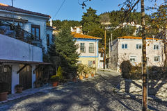 Typical street in old town of Xanthi, Greece Royalty Free Stock Images