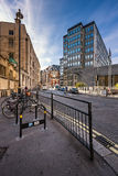 Typical Street with Rental Bicycles Parking in London, United Ki Royalty Free Stock Photo