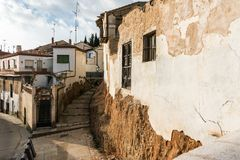 Typical street of small medieval town stock photo