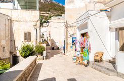 Typical street of small village on Levanzo island,Trapani, Italy Stock Photo