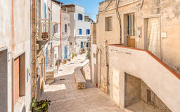 Typical street of small village on Levanzo island,Trapani, Italy Royalty Free Stock Image