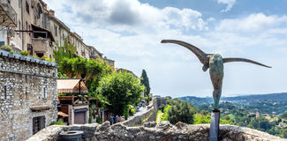 Typical street with statue and panoramic view in Saint Paul de V Royalty Free Stock Photography