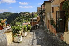 Typical street of the town of Castel Gandolfo, Rome province Laz. Io, Italy Royalty Free Stock Photos