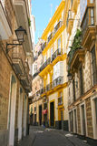 Typical street with traditioal architecture in Cadiz, Spain. Typical street with traditioal architecture in Cadiz, Andalusia, southern Spain stock photo