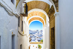Typical street in Vejer de la Frontera. Andalusia, Spain Stock Photo