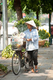 Typical street vendor in Hanoi,Vietnam. HANOI,VIETNAM-OCTOBER 12 : Daily life of the flower vendors sell on her bicycle in the typical street near old town on Stock Image