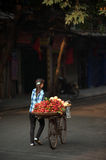 Typical street vendor in Hanoi,Vietnam. HANOI,VIETNAM-OCTOBER 12 : Daily life of the fruit vendors sell on her bicycle in the typical street near old town on Stock Image