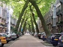 Typical street view in amsterdaml Stock Photos
