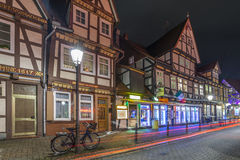 Typical street view in Celle. CELLE, GERMANY - DECEMBER 13, 2014: Typical street view in Celle at evening royalty free stock images