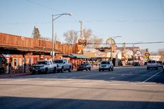 Typical street view in the historic village of Lone Pine - LONE PINE CA, USA - MARCH 29, 2019. Typical street view in the historic village of Lone Pine - LONE royalty free stock photos
