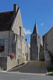 Typical Street View, loire valley, France. Showing church and street Stock Images