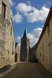 Typical Street View, loire valley, France. Showing church and street Royalty Free Stock Images