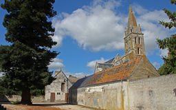 Typical Street View, loire valley, France. Showing church and street Royalty Free Stock Image