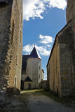 Typical Street View, loire valley, France. Showing church and street Royalty Free Stock Photo