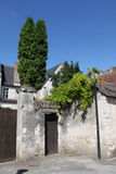 Typical Street View, loire valley, France. Showing church and street Royalty Free Stock Photos