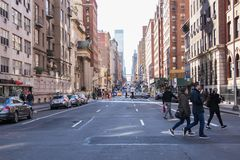 Typical street view in Manhattan . NEW YORK  USA - 3 January,2019 royalty free stock photos