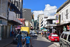 Typical street view outside of port louis central market, Mauritius Royalty Free Stock Photos