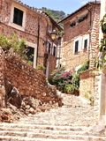 Typical street in the village of Fornalutx. Spain Royalty Free Stock Images